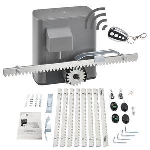 Juskys Elektrischer Torantrieb – Schiebetorantrieb Set mit 2 Fernbedienungen – Toröffner mit automatischem Schließmechanismus für Hoftor bis 600 kg