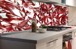Küchenrückwand Folie selbstklebend ROTER KRISTALL 180 x 60 cm   Klebefolie - Dekofolie - Spritzschutz für Küche  