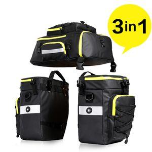 Rhinowalk 3in1 hochwertige Fahrradtasche / Gepäckträgertasche Schwarz/Gelb