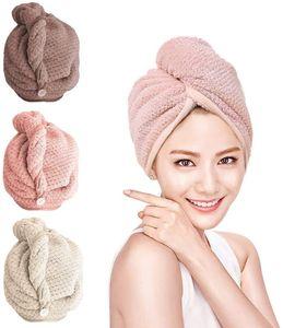 3x Mikrofaser Turban Handtuch Saugfähig Schnelltrocknend Kopfhandtuch mit Knopf Haarhandtuch
