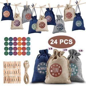 24 Adventskalender zum Befüllen, Weihnachten Geschenksäckchen Bastelset mit 1-24 Adventszahlen Aufkleber, Natur Säckchen,Stoffbeutel