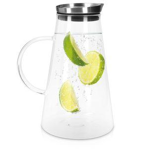 Navaris Glaskaraffe aus Borosilikatglas 1,6L Glaskrug - Wasser Karaffe mit Deckel - Glasbehälter Wasserkaraffe Wasserflasche - Tee Krug Ausgießer