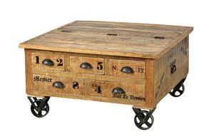 SIT Möbel Couchtischtruhe auf Rollen | 5 Schubladen, 1 Klappe | Mangoholz natur | B 90 x T 90 x H 47 cm | 01994-04 | Serie RUSTIC