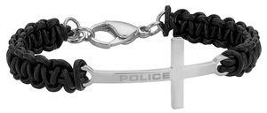 Police Lederarmband schwarz Edelstahlkreuz PJ26265BLS.01