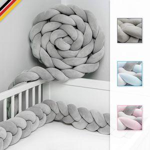 VADOOLL Bettschlange geflochten 3M - e Laborqualität - Bettumrandung geflochten inkl. Wäschenetz - Babybettumrandung - Bettumrandung Babybett – Bettschlange 300 cm (Grau)