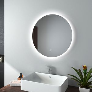 EMKE LED Badspiegel Rund 60 cm Durchmesser LED Spiegel Badezimmerspiegel mit Beleuchtung Kaltweiß Lichtspiegel Wandspiegel mit Touchschalter IP44 Energiesparend