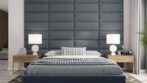 Wandpaneel Set 4x Kunstleder Gesteppt 5x5cm Wandverkleidung Polsterwand 80x30 - Dunkelgrau