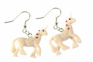 Einhorn Ohrringe Einhörner Miniblings Pferd Fantasy Unicorn weiß Punkte Gummi
