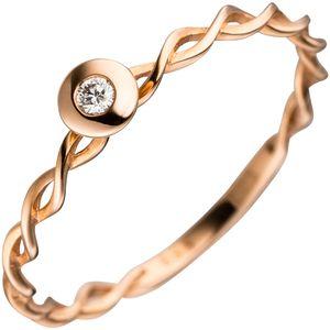 JOBO Damen Ring gedreht 585 Gold Rotgold 1 Diamant Brillant Goldring Diamantring Größe 50