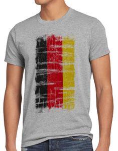 style3 Deutschland Vintage Flagge Herren T-Shirt EM WM Olympia, Größe:M, Farbe:Grau meliert