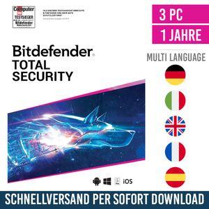 Bitdefender Total Security 2021 | 3 Geräte | 1 Jahr | Vollversion | Versand per E-Mail