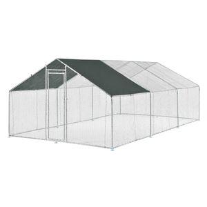 Freilaufgehege Freigehege 3x6x2m Tierlaufstall mit Sonnenschutz Kleintierstall Hühnerstall Hühnerkäfig Voliere [pro.tec]