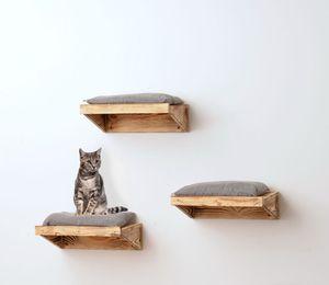 animal-design Wandliege FLAME Katzen-liege Holz Wandmontage rustikal Mulde Kletterwand, Größe:3er Set