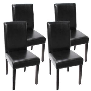 4x Esszimmerstuhl Stuhl Küchenstuhl Littau  Leder, schwarz dunkle Beine