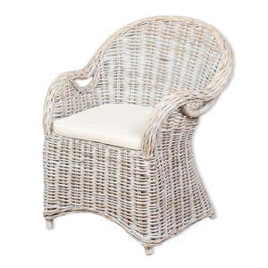 Rattan-Sessel CHARLOTTE White-Washed inkl. Sitzkissen