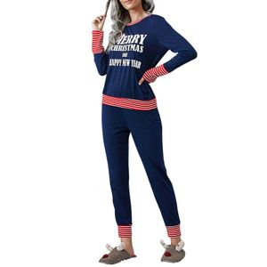 Damen Langarm Pyjama Weihnachtspyjama, Größe:M, Farbe:Dunkelblau