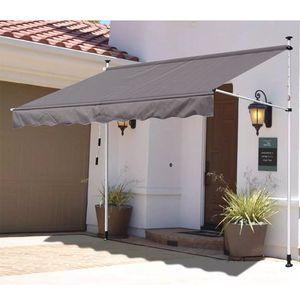 Klemmmarkise  300cm  Klemmmarkise einziehbar wasserdicht mit Gestell Sonnenschutz höhenverstellbar 2-3m Grau