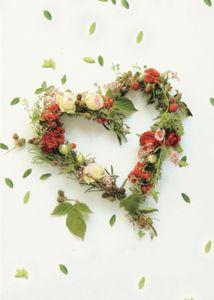 DeCoArt…  SET 3 Kleine Umschlagkarte Grünes Herz aus Blumen 8 x 11 cm