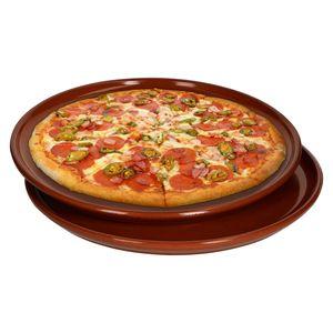 Pizzateller Tonware 2er Set 2,5xØ32cm Mediterran Glasiert Unikat Handarbeit Antik/Vintage Wikinger
