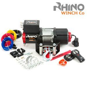 Rhino Elektrische Seilwinde 12V Stahl mit Fernbedienung und Mobilteil, 4500lb / 2040kg
