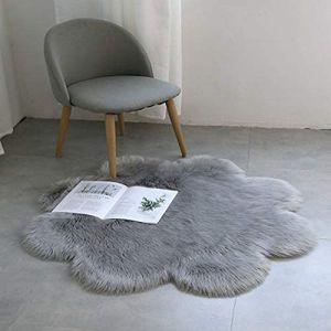 Lammfellimitat Teppich, Kunstfell Dekofell Lammfellimitat Teppich Longhair Fell Nachahmung Wolle Bettvorleger Sofa Matte ( Grau, 60 X 60 cm)