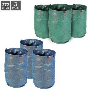 Garten Abfallsack Laubsack Rasensack Gartentasche 3er Set 272 Liter grün blau, Farbe:blau