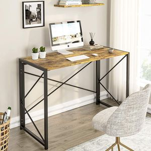Computertisch Schreibtisch Holzoptik Metallgestell PC-Tisch Arbeitstisch Vintage Laptop Tisch für Zuhause, Büro,Picknick, Garten