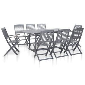 Huicheng 9-tlg. Garten-Essgruppe Sitzgruppe Gartenmöbel Sets mit Gartentisch (180x90 x74,5 cm) und 8 Klappstühle Massivholz Akazie Grau