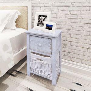 【Neu】Nachttische Nachttisch Holz Weiß Gesamtgröße:28 x 31 x 45 cm BEST SELLER-Möbel-Tische-Nachttische im Landhaus-Stil