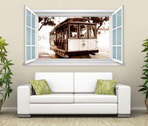 3D Wandtattoo Fenster Retro Zug Straßenbahn Wand Aufkleber Wanddurchbruch Wandbild Wohnzimmer 11BD1296, Wandbild Größe F:ca. 140cmx82cm