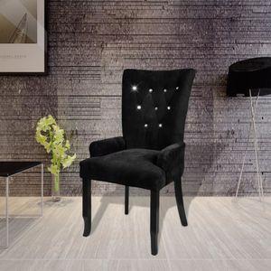 【Neu】Fernseh- & Relaxsessel Sessel Schwarz SamtMöbel-Stühle-Esszimmerstühle im Landhaus-Stil