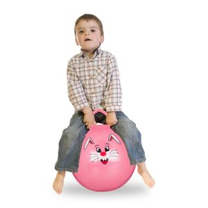 relaxdays 1 x Hüpfball Hopser Hopper, Sprungball Kinder, Jumping Ball 45cm, Gummiball pink