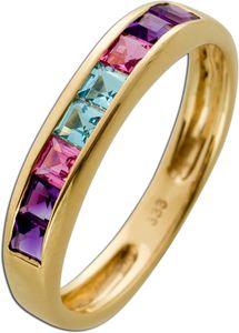 Edelsteinring Gelb Gold 333 4 Amethstyst 2 Morganit 2 Aquamarin Edelsteine Gr.18,2mm 18