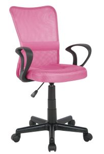 SixBros. Bürostuhl,Schreibtischstuhl, Drehstuhl für's Büro oder Kinderzimmer, stufenlos höhenverstellbar mit Armlehnen, Schreibtischstuhl für Kinder aus Stoff, pink,H-298F-2/2109
