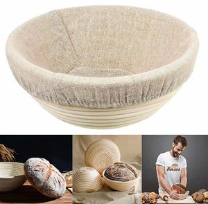 Gärkorb Gärkörbchen Rund,Gärkörbchen Brotform Rund 20 x 8 cm Peddigrohr Korb Gärkorb für 1,0 Kg Brot Teig Ausgelegt inkl. Leineneinsätze