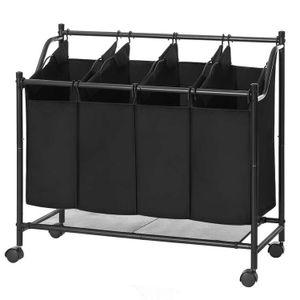 SONGMICS Wäschekorb mit 4 Fächern 140 L Eisengestell 4 ×35 L  Wäschewagen  Wäschebehälter auf Rollen Wäschesortierer schwarz LSF005