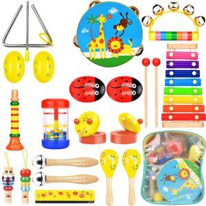 NightyNine 21 Stück Musikinstrumente Set für Kinder ab 3 Jahre Spielzeug Schlagzeug Kinder Schlaginstrument aus Holz Percussion Set Xylophon Rhythm Toys Werkzeuge Kinderspielzeug Früherziehung Musik