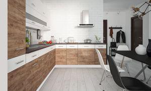 Küchenzeile 290x210cm perlweiß matt / weiß Acryl Hochglanz - Tabacco wildeiche Küchenblock