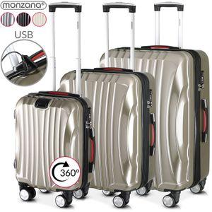 Kofferset Koffer Trolley Reisekoffer Hartschale M L XL 4 Rollen 3tlg Rollkoffer, Farbe:3er Set champagner