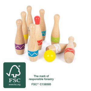 small foot 11912 Kegelspiel Active, aus Holz, Kinder Indoor- und Outdoor-Spiel, ab 3 Jahren