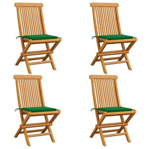 Gartenstühle mit Grünen Kissen 4 Stk. Teak Massivholz - Campingstuhl Balkonstuhl Relaxstuhl für Garten