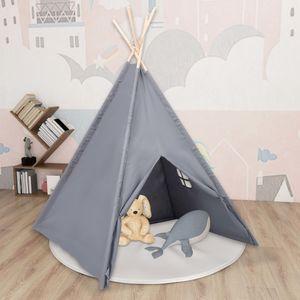 SIRUITON Kinder Tipi-Zelt mit Tasche Pfirsichhaut Grau 120x120x150 cm