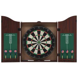 Dartset 45cm Dartscheibe Dartboard Sisal mit Schrank und 6 Dartpfeilen, VD32534_DE