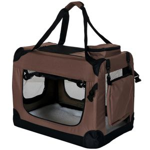PetViolet Transportbox für Haustiere Hunde Katzen, Faltbar, 60x42x42 cm, Braun