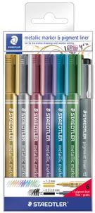 STAEDTLER Permanent-Marker Metallic 6er Etui + Pigmentliner
