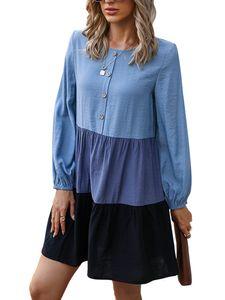 Lässiges Langarmkleid-Oberteil für Damen,Farbe: Blau,Größe:L