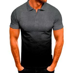 Männer Farbverlauf Kurzarm Poloshirt Casual Top Bluse Pullover Sweatshirt,Farbe: Dunkelgrau,Größe:L