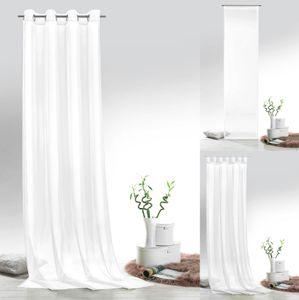 heimtexland ® Vorhänge Uni Voile einfarbig transparent Fensterdekoration Deko Gardine Typ418 Weiß Schlaufenschal HxB 245x140 cm