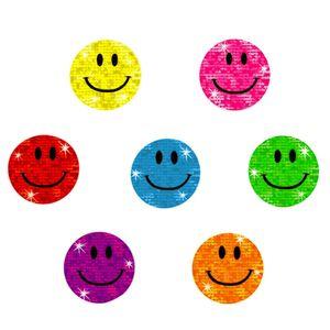 Oblique Unique 112 Smiley Sticker Smile Aufkleber Glitzer Emoji Set - bunt