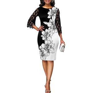 Damen Spitzenärmel Partykleid Blumen Bedruckte Kleider Sommerkleid Größe,2XL.